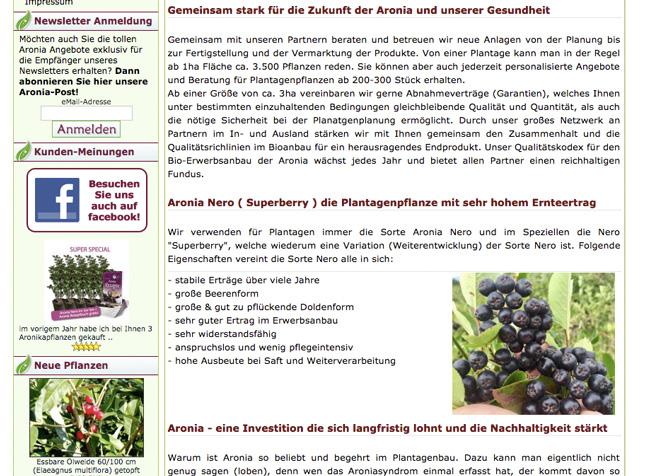 Aroniabauer - Informationen